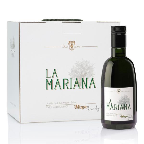 Caja de aceite La Mariana + botella